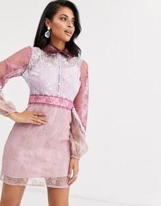 Розовое кружевное платье мини с объемными рукавами True Decadence - Розовый