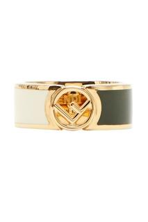 Золотистое кольцо с логотипом Fendi
