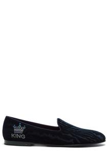 Синие лоферы с отделкой Crown Motif Dolce & Gabbana
