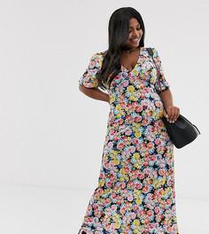 Чайное платье макси с цветочным принтом ASOS DESIGN Curve - Мульти