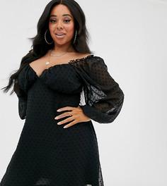 Черное платье мини из ткани добби с длинными рукавами Missguided Plus - Черный