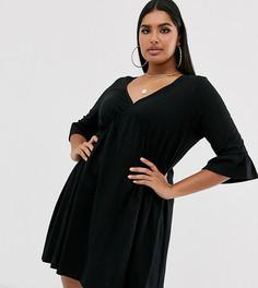 Свободное платье с V-образным вырезом и оборками на рукавах ASOS DESIGN curve - Черный