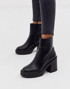 Черные ботильоны на каблуке и платформе New Look - Черный