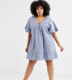 Свободное платье мини из шамбре с V-образным вырезом ASOS DESIGN Curve - Синий