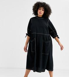Фактурное свободное платье миди с завязками на рукавах ASOS DESIGN Curve - Черный