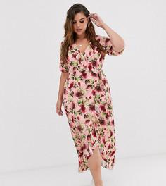 Платье макси с запахом, оборкой и цветочным принтом ASOS DESIGN Curve - Мульти