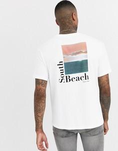 Белая oversize-футболка с принтом South Beach на спине Bershka - Белый