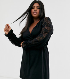 Черное платье с запахом спереди, поясом и контрастным кружевом Pink Clove - Черный