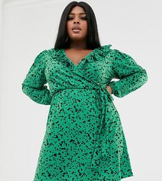 Платье мини с запахом и пышными рукавами Pink Clove - Зеленый