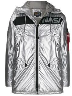 Alpha Industries куртка с эффектом металлик и принтом NASA