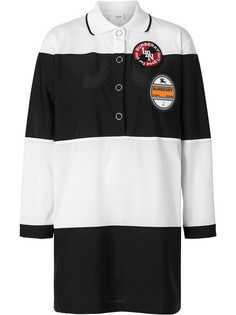 Burberry платье-рубашка поло с полосками и логотипом