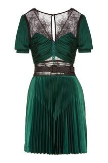 Зеленое платье с кружевными вставками Self Portrait