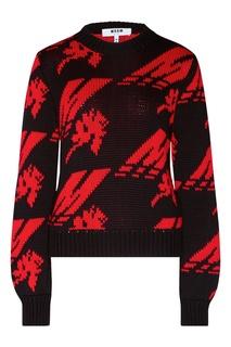 Черно-красный пуловер Msgm