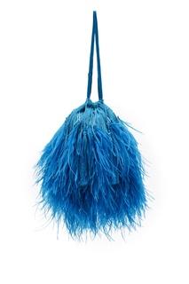 Голубая сумка с перьями Attico