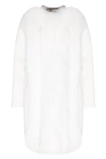 Белое пальто с меховой отделкой Fendi