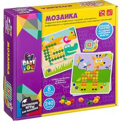 Мозаика для малышей Bondibon 8 картинок-шаблонов, 240 фишек (ВВ2870)