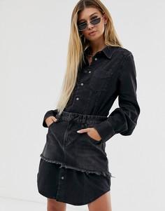 Джинсовое платье-рубашка Diesel - Черный