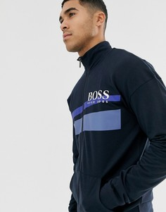 Темно-синяя олимпийка на молнии BOSS bodywear Authentic - Темно-синий