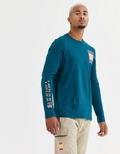 Сине-зеленый лонгслив с принтом на рукавах adidas Originals adiplore - Зеленый