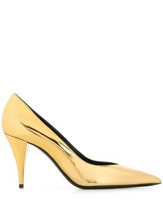 Saint Laurent туфли-лодочки с заостренным носком и эффектом металлик