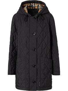 Burberry стеганое пальто с капюшоном