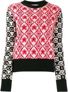 Gucci трикотажный джемпер со вставками и логотипом
