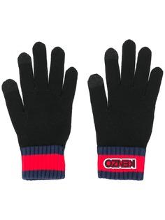Kenzo перчатки в рубчик с нашивкой-логотипом