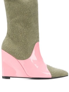 Leandra Medine colour block wedge boots