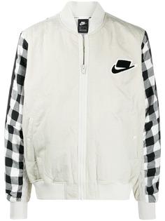 Nike куртка-бомбер со вставками в клетку гингем