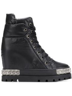 Casadei ботинки на шнуровке и танкетке