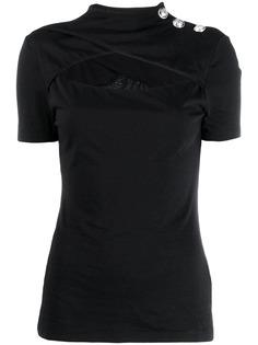 Balmain футболка с вырезной деталью и высоким воротником