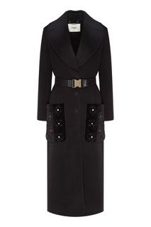 Черное пальто с поясом Fendi