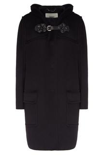Черное пальто с отделкой из кожи Fendi