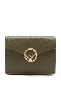 Зеленый кошелек с логотипом Fendi