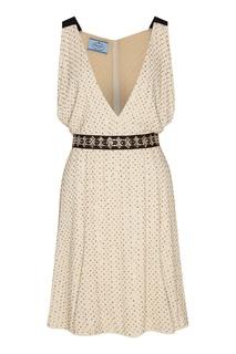 Блестящее платье с контрастным поясом Prada