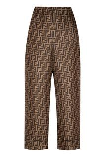 Коричневые брюки с монограммами Fendi
