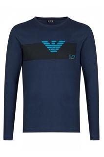 Темно-синяя футболка с рисунком EA7