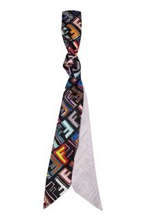 Черный шарф с разноцветным принтом Fendi