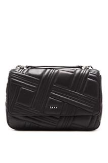 Черная сумка с фактурным узором Dkny