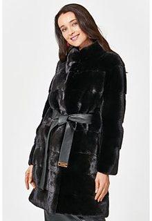 Норковая шуба с поясом Nevris Furs