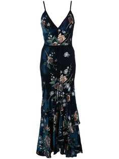Marchesa Notte коктейльное платье с цветочной вышивкой