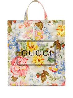 Gucci сумка-тоут с цветочным принтом и логотипом