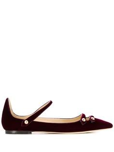 Jimmy Choo бархатные туфли Layton на плоской подошве
