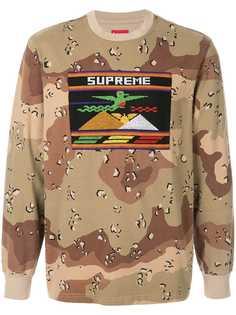 Supreme футболка с длинными рукавами и нашивкой