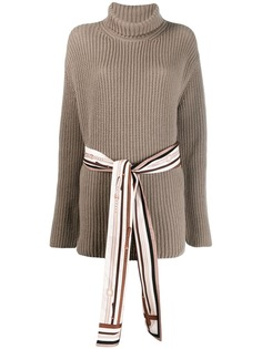 Fendi свитер в рубчик с высоким воротником и поясом