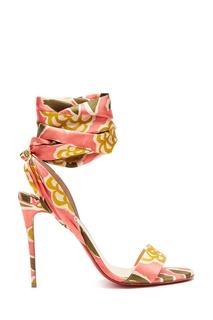 Розовые босоножки с шелковой лентой Sandale du Desert Christian Louboutin