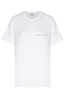 Белая футболка с блестящей отделкой Peserico