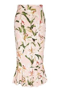 Розовая юбка-годе с рисунком Dolce & Gabbana