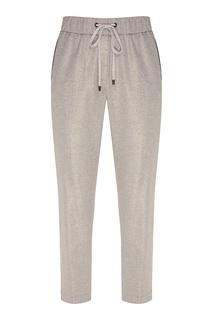 Свободные серые брюки-джоггеры с лампасами Peserico