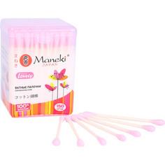 Ватные палочки MANEKI Lovely гигиенические, с розовым стиком, в пластиковой коробке 150 шт